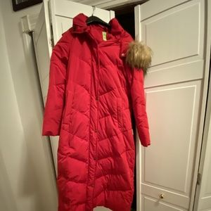 Women's red down coat size S
